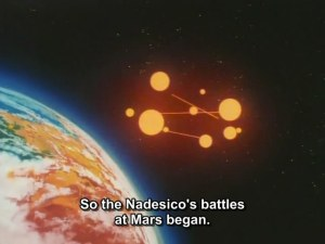 The lead-in to the next episode near the end of the show; remarkably, the fact that the ship is in war time never left me as a viewer. The Nadesico after all was subjected to pot-shot bombardment in the 2-week trip from Earth to Mars.