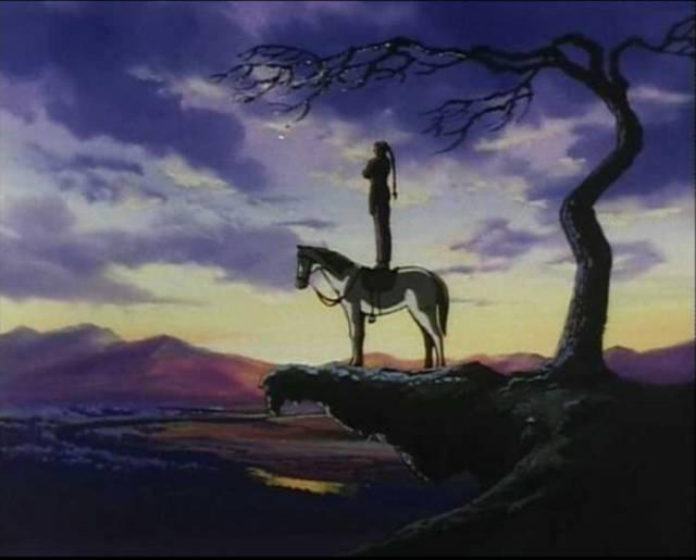 gundam-g-master-asia-horse-cliff-sunset