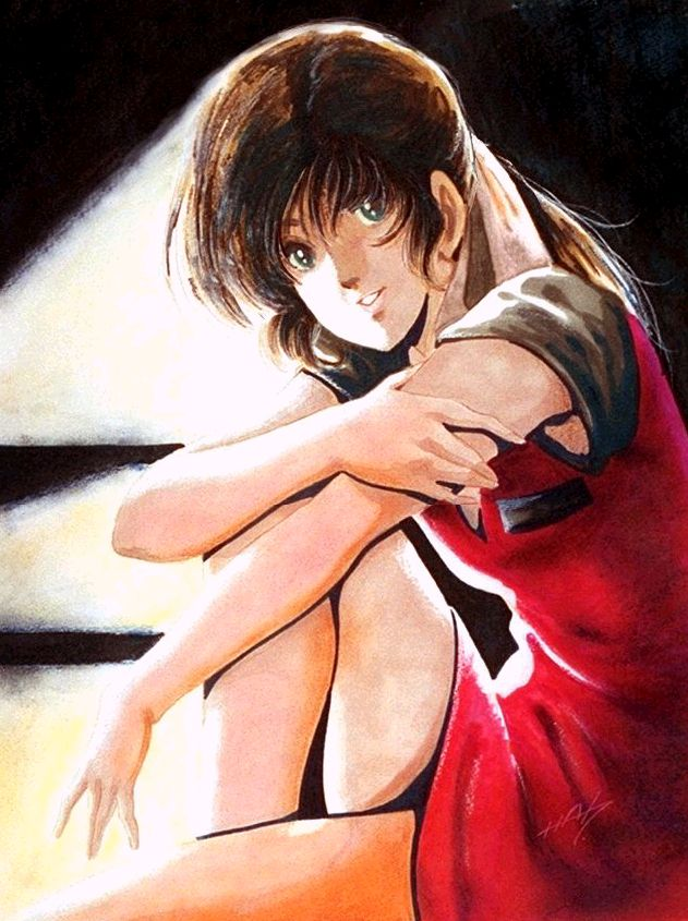 macross haruhiko mikimoto lynn minmay red dress sitting semi-profile