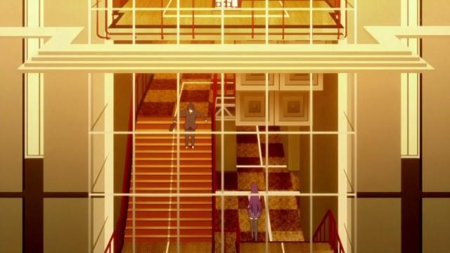 bakemonogatari 01 araragi senjougahara stairwell
