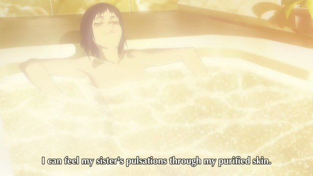 canann 01 woman bath tub feeling her sister's pulsations through her purified skin