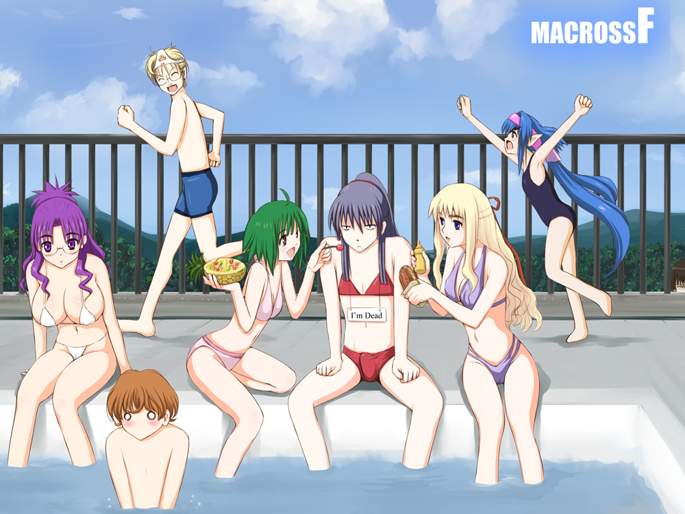 Macross Frontier Swimming Pool Nanase Luca Michel Klan Ranka Alto Sheryl