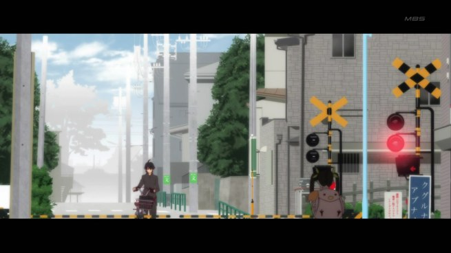 bakemonogatari 06 araragi mayoi railway crossing
