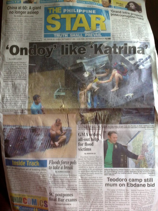 philippine star front page 9-27-2009