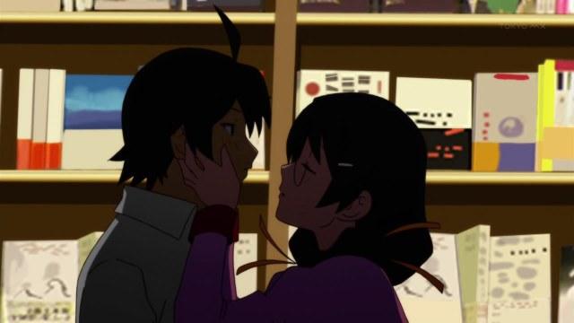 bakemonogatari 09 araragi hanekawa kiss