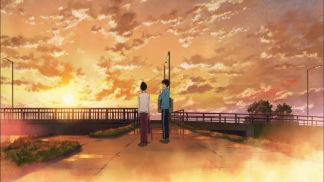 kimi ni todoke 02 kazehaya sawako on the bridge rain puddles