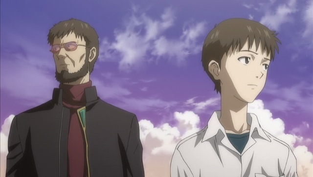 Shinji and Gendou, avoiding looking at each other