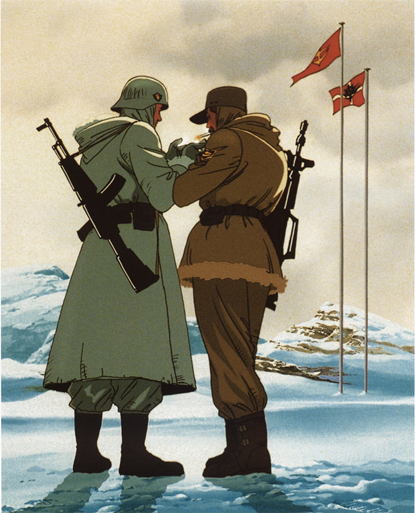gundam zeon soldier federation soldier sharing a smoke antarctic treaty 0079