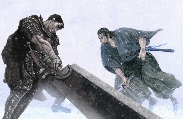berserk vagabond guts vs miyamoto musashi