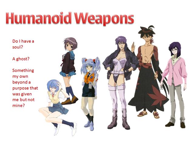humanoid weapons rei ayanami nagato yuki hoshino ruri motoko kusanagi yasuri shichika tieria erde