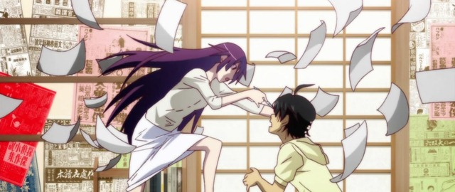 bakemonogatari 06 senjougahara vs araragi pen vs eyeball