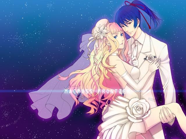 Konachan.com - 78599 macross macross_frontier saotome_alto sheryl_nome wedding wedding_dress