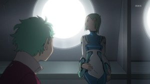 Eureka Seven AO Pregnant Eureka Stares out Window